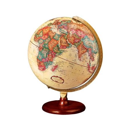 Piedmont Antique Finish 12 Inch Globe w Solid Wood Base Spherical Antique Globe