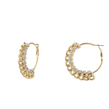 Lux Accessories Goldtone and Rhinestone Curb Chain Tan Corded Hoop Earrings