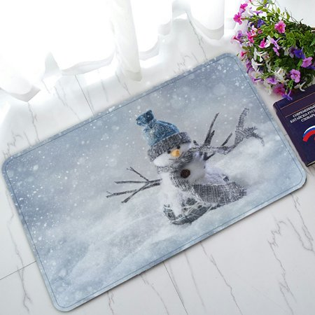 PHFZK Winter Holiday Doormat, Cute Smiling Snowman Snowflake Christmas Doormat Outdoors/Indoor Doormat Home Floor Mats Rugs Size 30x18 (Best Winter Floor Mats)