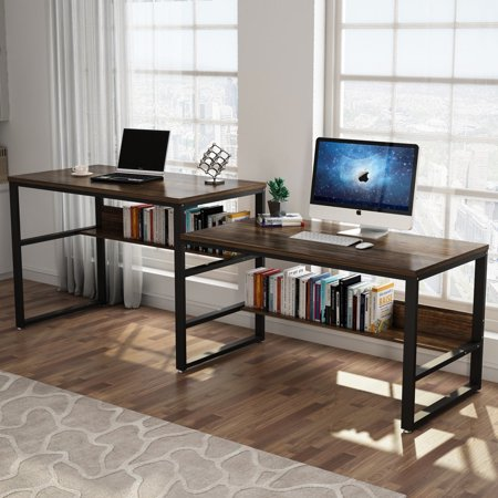 Tribesigns 94 48 Computer Desk With Shelf Extra Large Sit And Standing For Two Person Simple Writing In Rustic Finish Double