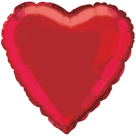 Foil Balloon, Heart, 18 in, Red, 1ct (Red Heart Helium Balloons)