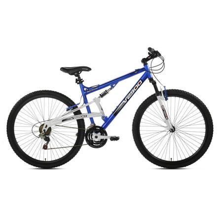 """29"""" Genesis V2900 Full Suspension Men's Mountain Bike, Blue/White"""