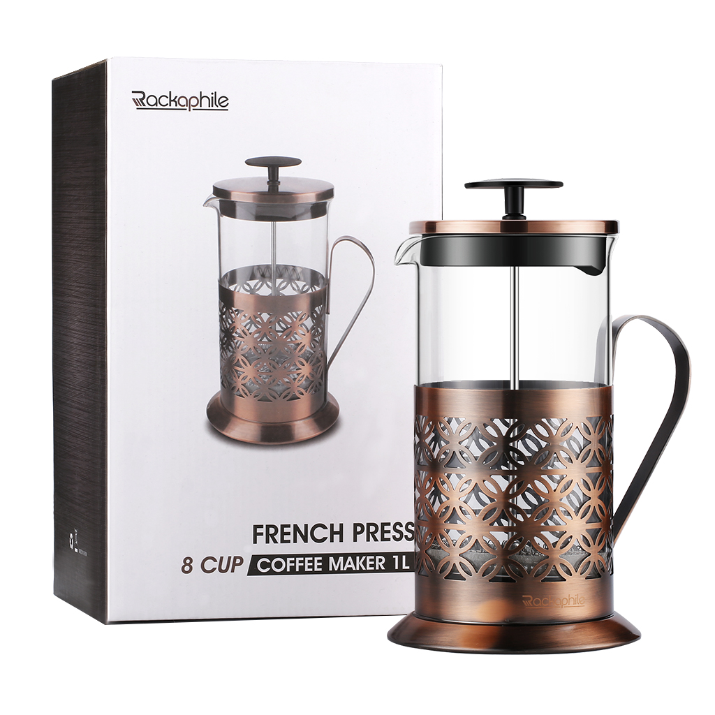 French Press Coffee Maker Tea Pot, Heat Retention Double Wall Glass Beaker and Stainless Steel Filter (8 Cup, 34OZ, 1L) for Coffee Tea Press Maker, Bronze