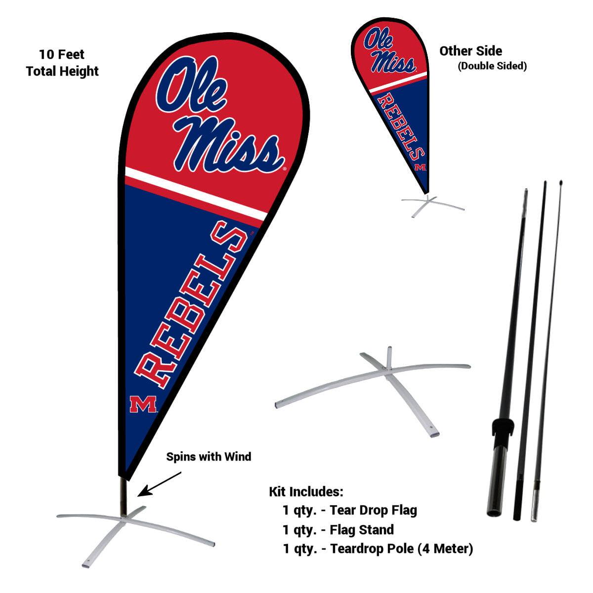 University of Mississippi Rebels Teardrop Flag Pole and Stand Kit