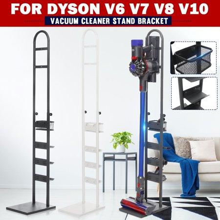 White Metal Storage Bracket Stand Holder For Dyson Cordless Handheld Vacuum Cleaner V6 V7 V8 V10,8.6×10.6×48.8 Inches Stainless Steel Hand Vac
