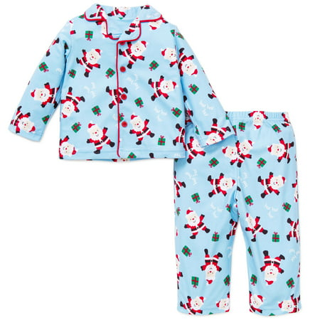 Me 2pc Toddler Boys Santa Christmas Holiday Pajamas Blue 18 Months ...
