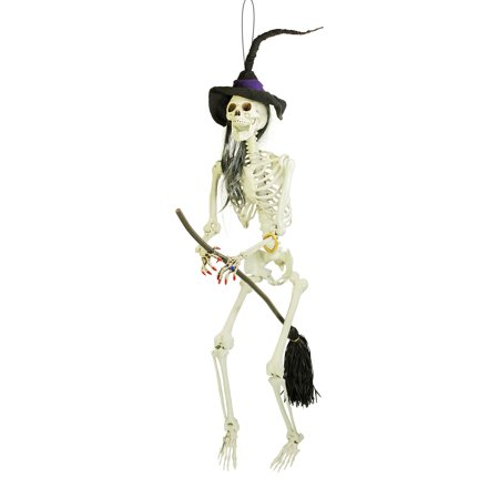 Halloween 70 inch Hanging  Evil Wicked Skeleton Witch Broomstick Prop - Halloween Decorations Witches Lair