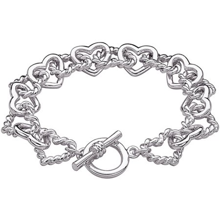 Silver-Tone Linked Hearts Toggle Bracelet, (Tiffany Style Heart Toggle Bracelet)