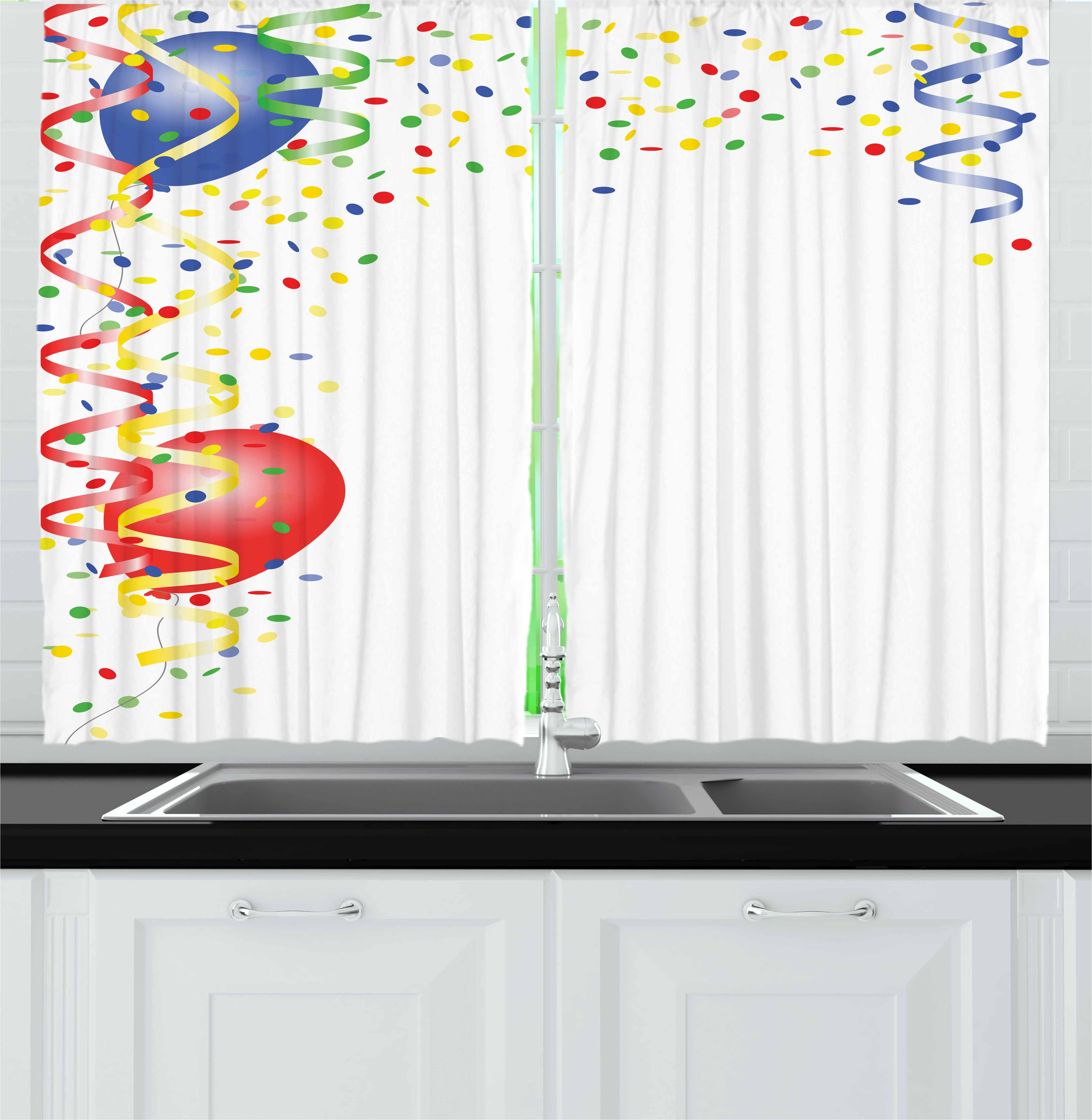 Kids Party Curtains 2 Panels Set, Children's Birthday Concept with Balloons and Confetti Happy Surprise Cheerful, Window Drapes for Living Room Bedroom, 55W X 39L Inches, Multicolor, by Ambesonne