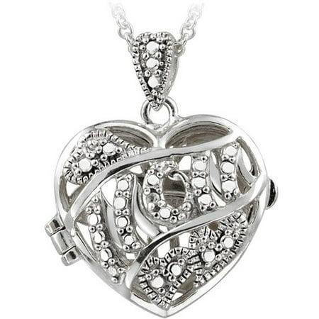 Diamond Accent Silver-Tone Mom Locket, 18