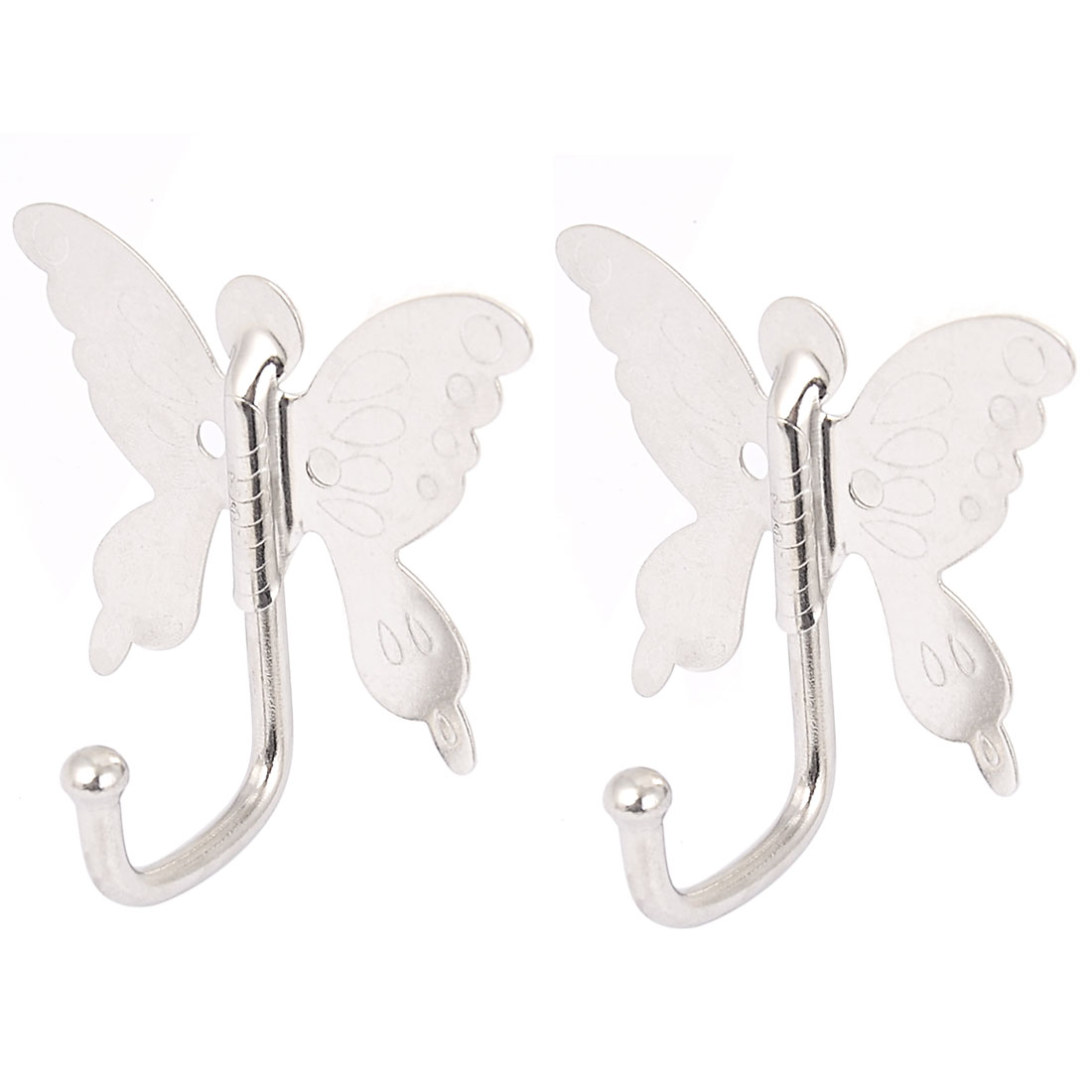 Bedroom Bathroom Butterfly Style Wall Mounted Cloth Towel Hook Hanger 2pcs - image 2 of 4