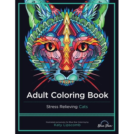 Adult Coloring Book: Stress Relieving Cats - Coloring Pages Halloween Cat