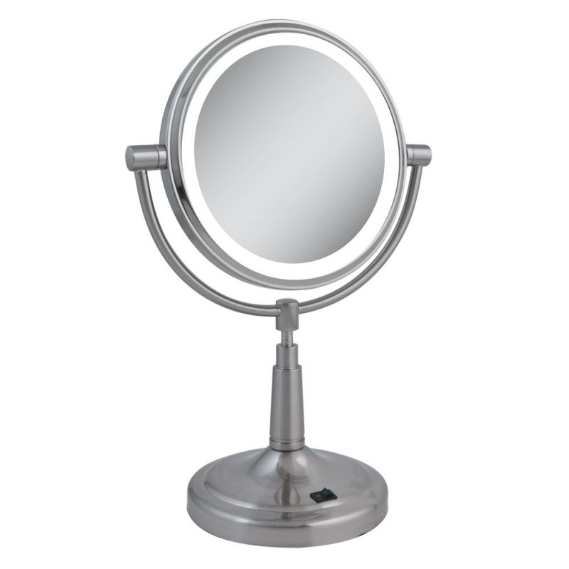 LEDMV410 Zadro 10x 1x LED Lighted Vanity Mirror, Satin Nickel by Zadro