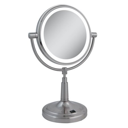 zadro dual sided led lighted round magnifying vanity mirror. Black Bedroom Furniture Sets. Home Design Ideas