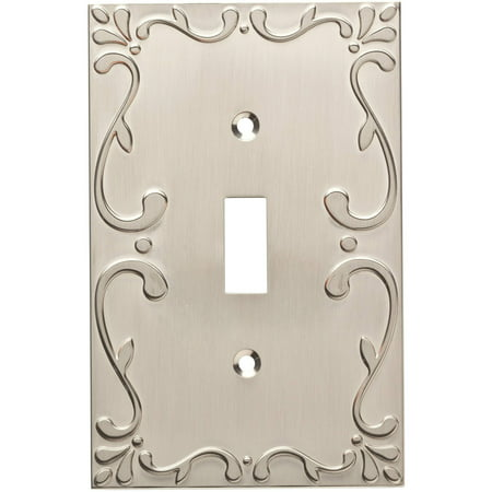 Franklin Brass Classic Lace Single Switch Wall Plate in Satin (Plated Brass Lace)