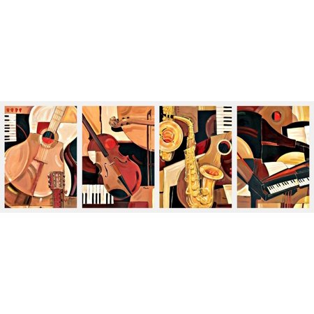 Classic Reproductions of Abstract Jazz Paintings; Piano, Sax, Violin, Guitar; Four 12x16 Posters