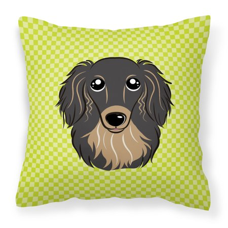 Checkerboard Lime Green Longhair Black and Tan Dachshund Fabric Decorative Pillow ()