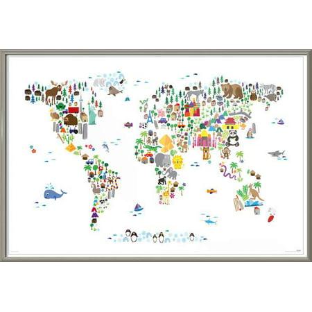 Animal Kingdom Map Of The World - Framed Art Poster / Print (Where ...