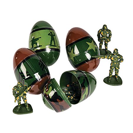 Toy Filled Army Soldier Camouflage Themed Easter Eggs - 12 pieces (Eggs With Toys Inside)