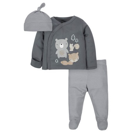 Wonder Nation Baby Boy Outfit Take Me Home Shirt, Cap & Footed Pants, 3-Piece