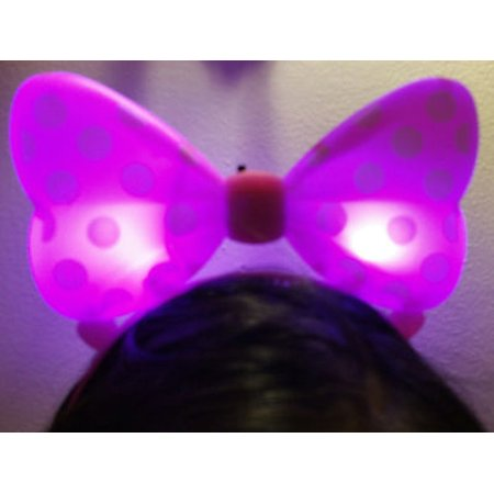 LWS LA Wholesale Store  1 LIGHT UP MINNIE MICKEY MOUSE BOWS POLKA DOTS HEADBANDS FAVOR PARTY EARS (Pink) &  ** 1 Free miniature figures](Minnie Mouse Ears Party City)