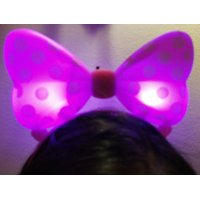 LWS LA Wholesale Store  1 LIGHT UP MINNIE MICKEY MOUSE BOWS POLKA DOTS HEADBANDS FAVOR PARTY EARS (Pink)