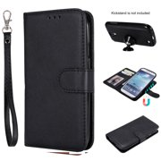 Galaxy S4 Case Wallet, S4 Case, Allytech Premium Leather Flip Case Cover & Card Slots Pocket, Wrist Design Detachable Slim Case for Samsung Galaxy S4 (S IV I9500) (Black)