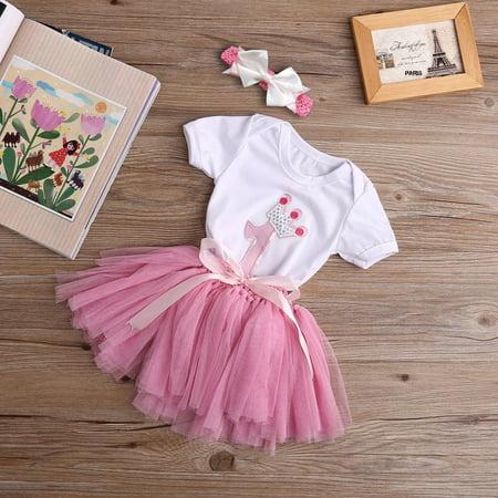 3PCS New Baby Girl 1st Crown Romper Bodysuit Headband Birthday Tutu Skirt Outfit - First Birthday Tutu