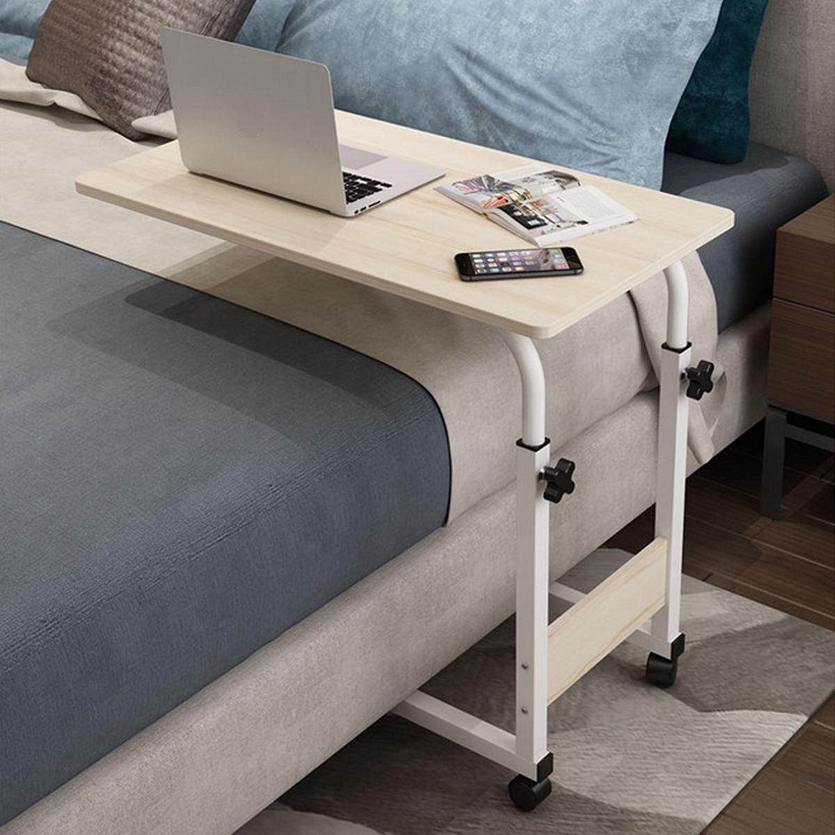 Computer Desk Height Adjustable Laptop Stand Desk Rolling Cart Home Office Chair Can Be Lifted And Lowered Computer Desk Bedside Table Folding Study Writing Desk Walmart Com Walmart Com