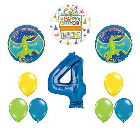 Dragon 4th Birthday Party Supplies and Balloon Decoration Bouquet - Dragon Balloons