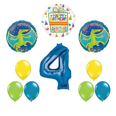 Dragon 4th Birthday Party Supplies and Balloon Decoration - Dragon Balloons