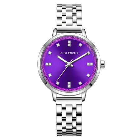 Womens Quartz Watch Purple Dial Solid Steel Belt Rhinestone Scale Hour for Friends Lovers Best Holiday Gift