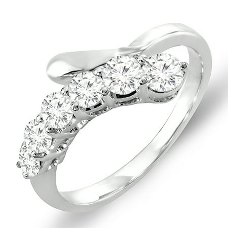 Dazzlingrock Collection 0.75 Carat (ctw) 14k White Round Diamond Ladies Journey Ring 3/4 CT, White Gold, Size 7