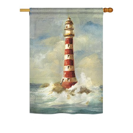 """Breeze Decor - Lighthouse by the Sea Coastal - Everyday Nautical Impressions Decorative Vertical House Flag 28"""" x 40"""" Printed In USA"""