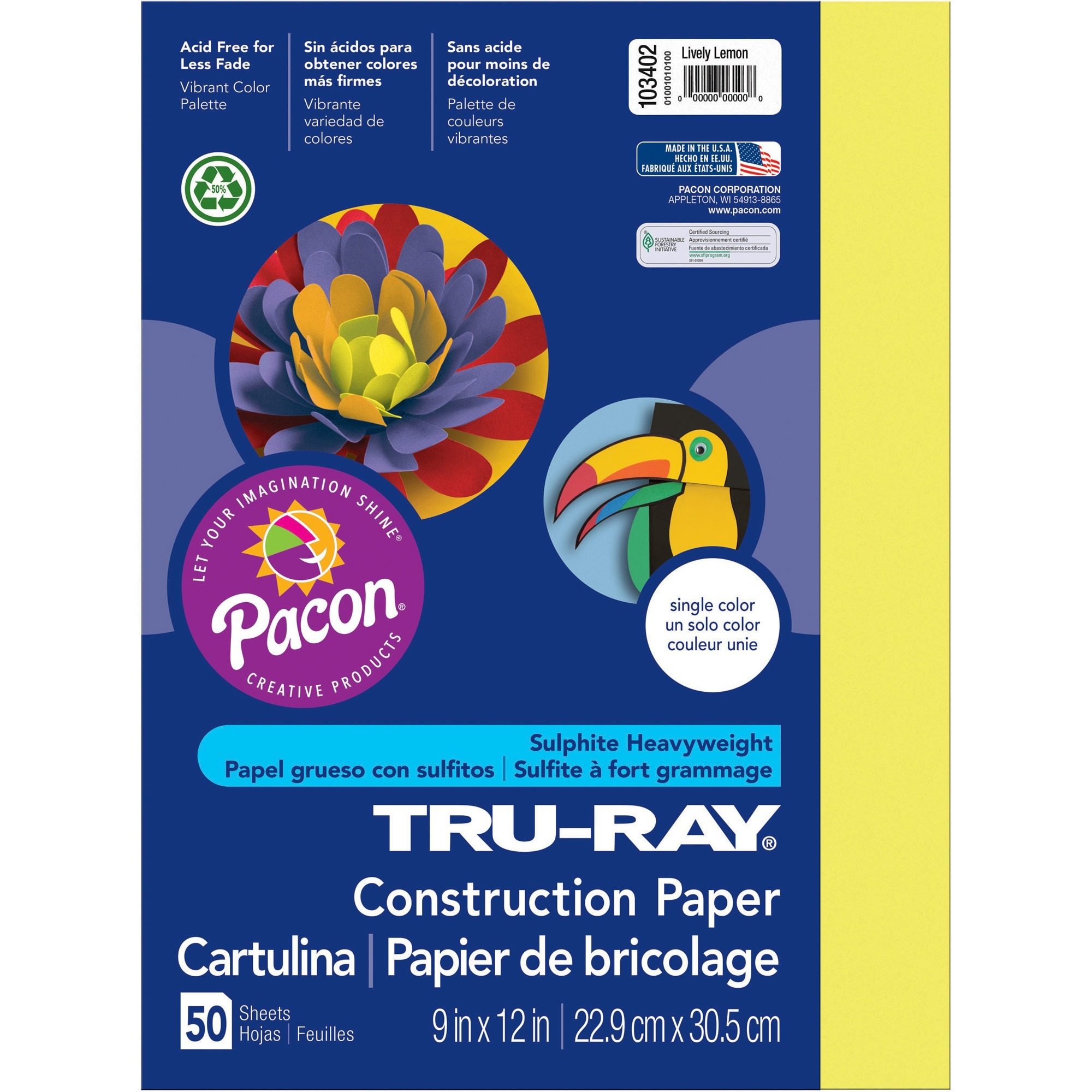 Tru-Ray, PAC103402, Construction Paper, 50 / Pack, Lively Lemon