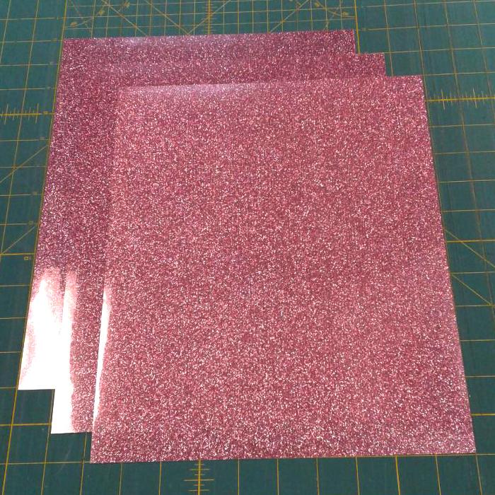 "Three (3) 10""x12"" Sheets of Rose Gold Siser Glitter Iron-on Heat Transfer Vinyl Sheets, HTV"