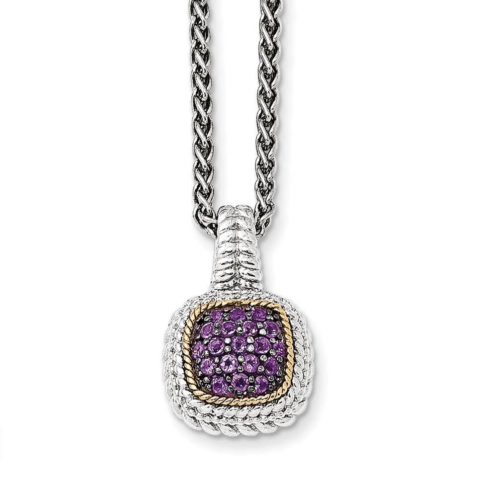14k  Silver Two-Tone w  and Black Rhodium Amethyst Necklace by