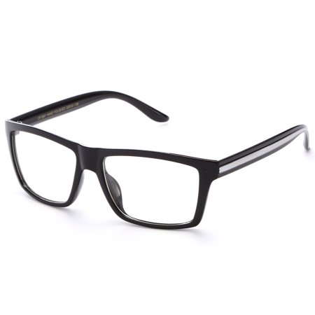 IG Unisex Retro Squared Celebrity Striped Temple Clear Lens Fashion Glasses in (Brown Square Glasses)