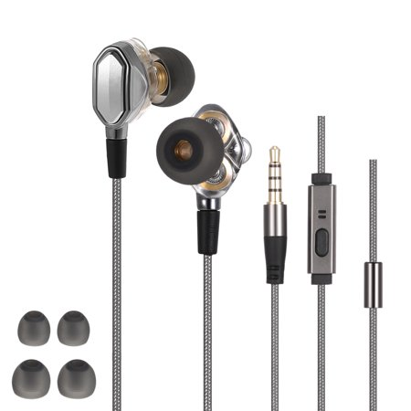 3.5mm HiFi Headphones In-ear Earphones Dual Dynamic Driver Design In-line Control Headsets