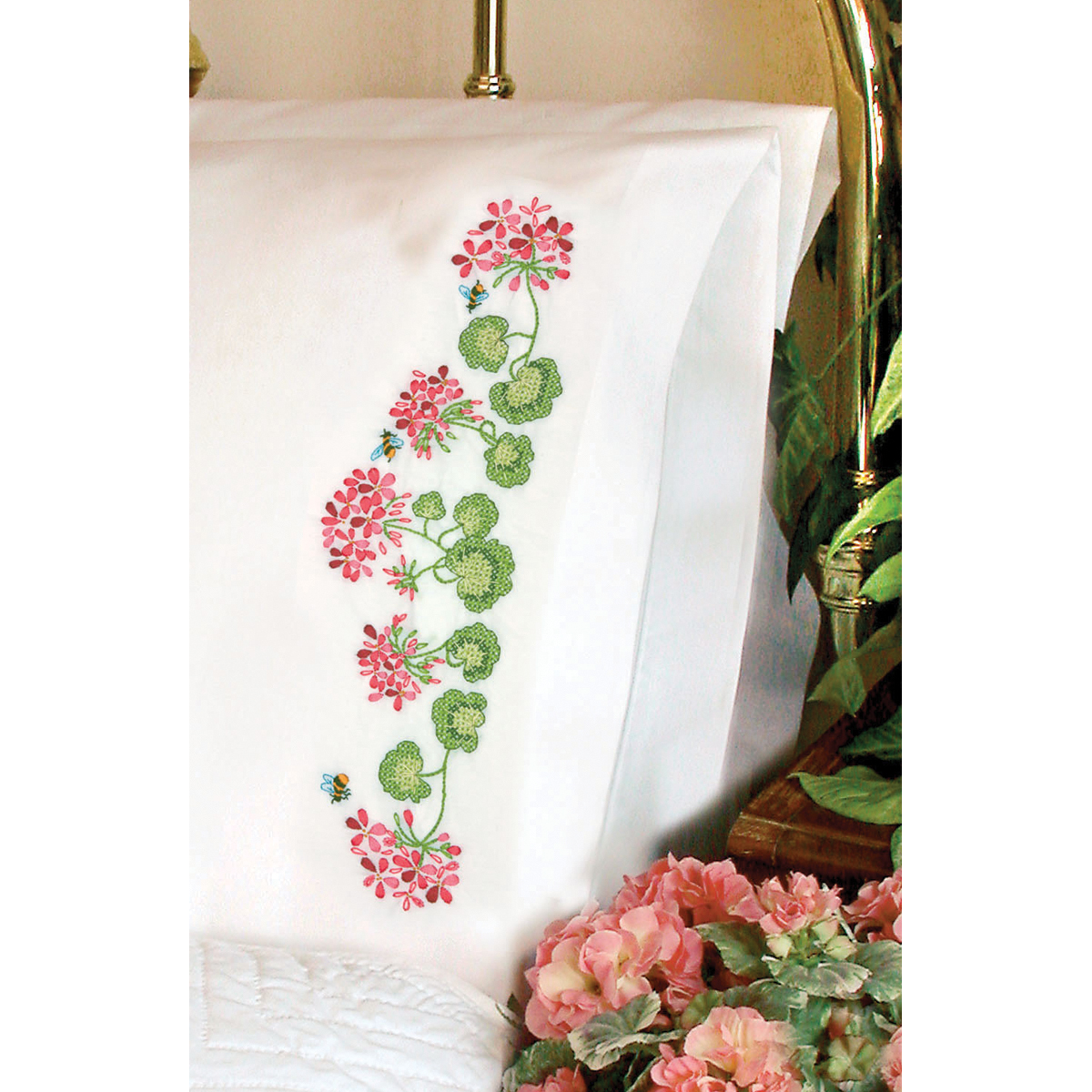 Dimensions Summer Geraniums Stamped Pillowcase Pair For Embroidery