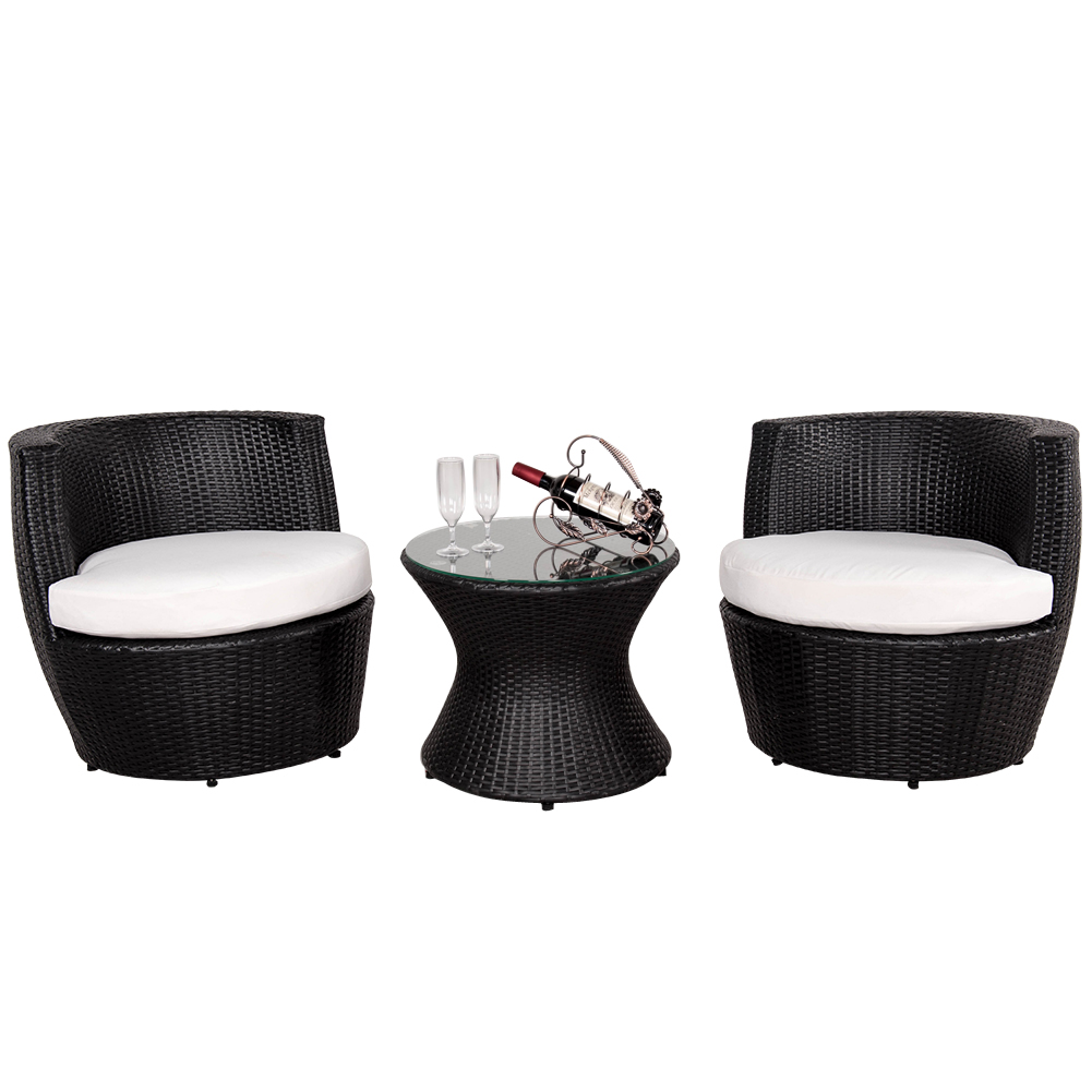Sundale Outdoor Deluxe 3 Pcs Stacking Patio Furniture Bla...