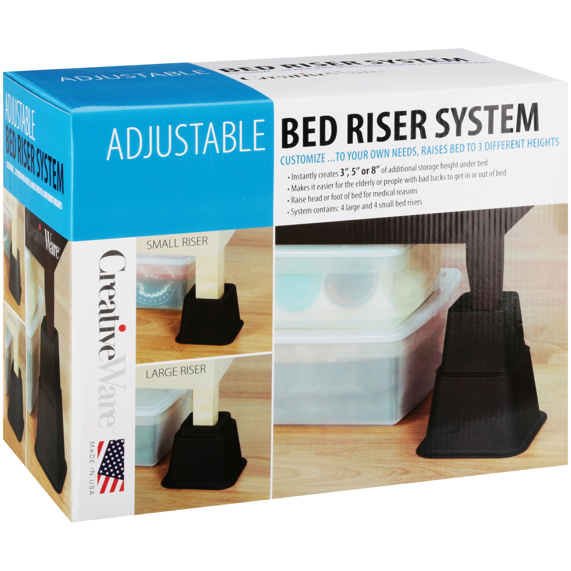 creativeware™ adjustable bed riser system - walmart
