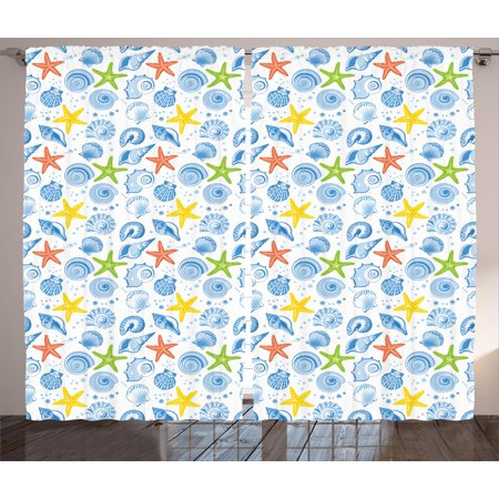 Oyster Shell Set (Nautical Decor Curtains 2 Panels Set, Marine Themed Starfish Mollusk Coral Reef Shells Oyster Underwater Design, Window Drapes for Living Room Bedroom, 108W X 90L Inches, Blue Yellow, by)