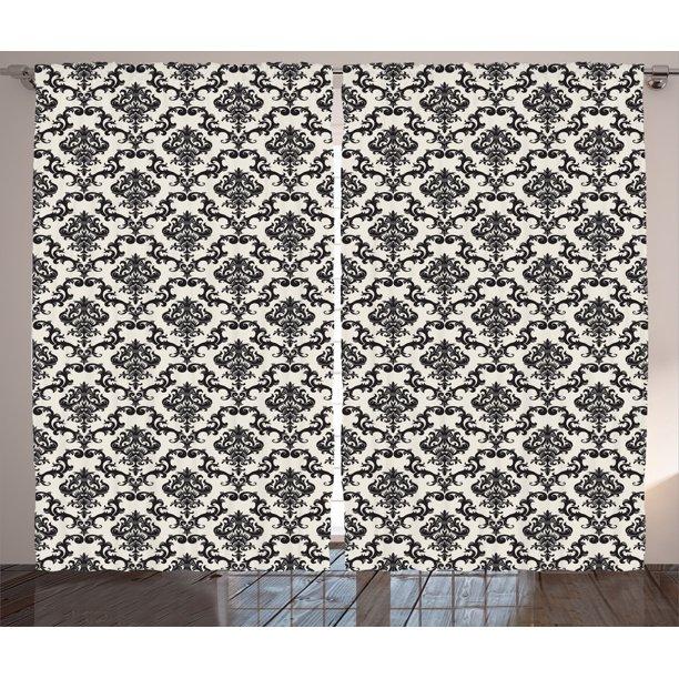 Damask Curtains 2 Panels Set Contemporary Western Damask Motif With Weave Effect Floral Leaves Graphic Design Living Room Bedroom Decor Beige Black By Ambesonne Walmart Com Walmart Com