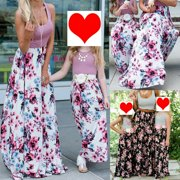 Women Girls Boho Maxi Long Floral Holiday Party Dress Family Matching Outfits