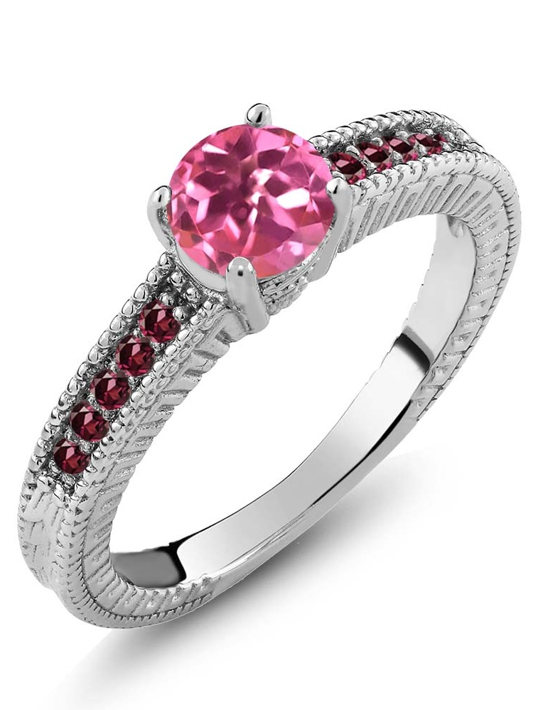 1.25 Ct Round Pink Mystic Topaz Red Rhodolite Garnet 18K White Gold Ring by