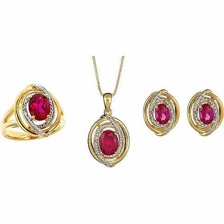 - Round White Diamond Accent and Created Ruby Silver-Tone Ring, Earrings and Pendant Set, 18