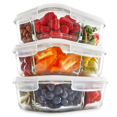 3 compartment glass meal prep containers with lids 3 pack portion control food storage bpa. Black Bedroom Furniture Sets. Home Design Ideas