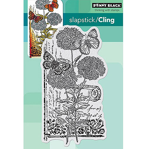 "Penny Black Cling Rubber Stamp, 4"" x 5.25"" Sheet, Scripted Blooms"