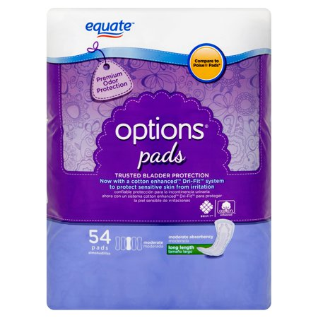 Equate Options Incontinence Pads For Women  Moderate  Long Length  54 Ct